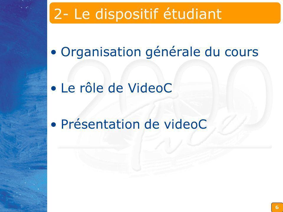 6 2- Le dispositif étudiant Organisation générale du cours Le rôle de VideoC Présentation de videoC