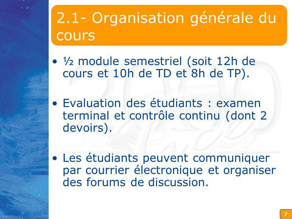 7 2.1- Organisation générale du cours ½ module semestriel (soit 12h de cours et 10h de TD et 8h de TP). Evaluation des étudiants : examen terminal et