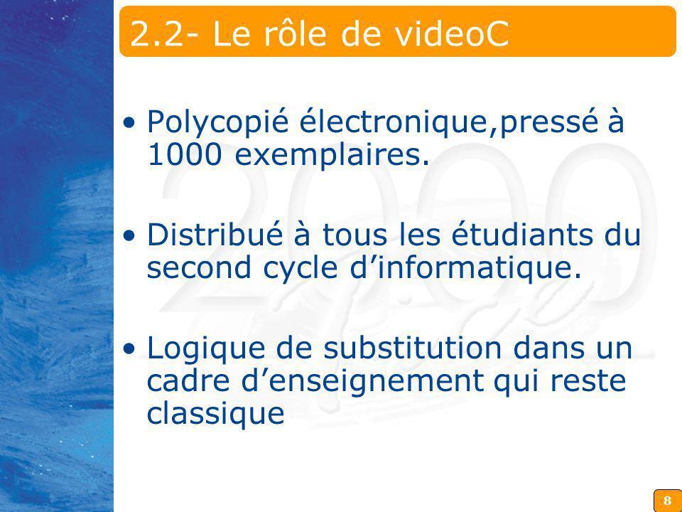8 2.2- Le rôle de videoC Polycopié électronique,pressé à 1000 exemplaires. Distribué à tous les étudiants du second cycle dinformatique. Logique de su