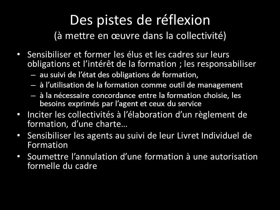 Des pistes de réflexion (à mettre en œuvre dans la collectivité) Sensibiliser et former les élus et les cadres sur leurs obligations et lintérêt de la