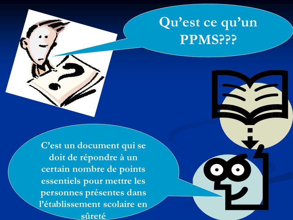 Quest ce quun PPMS??? Cest un document qui se doit de répondre à un certain nombre de points essentiels pour mettre les personnes présentes dans létab
