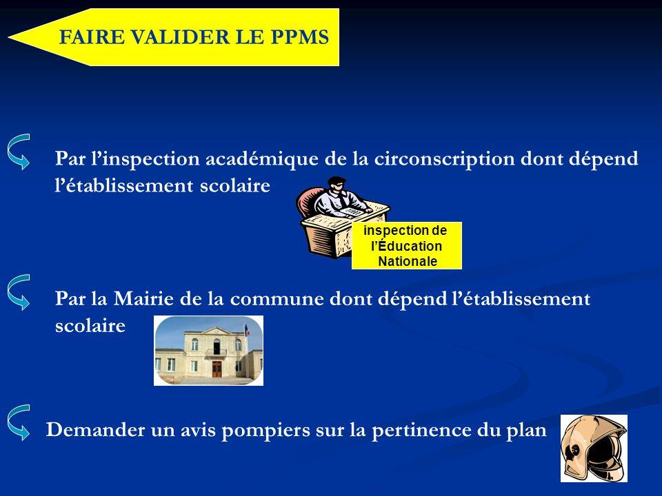 FAIRE VALIDER LE PPMS Par linspection académique de la circonscription dont dépend létablissement scolaire Par la Mairie de la commune dont dépend lét