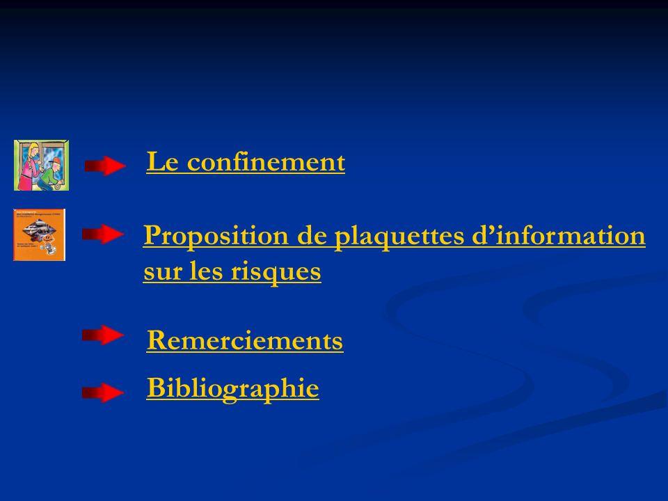 Remerciements Bibliographie Le confinement Proposition de plaquettes dinformation sur les risques