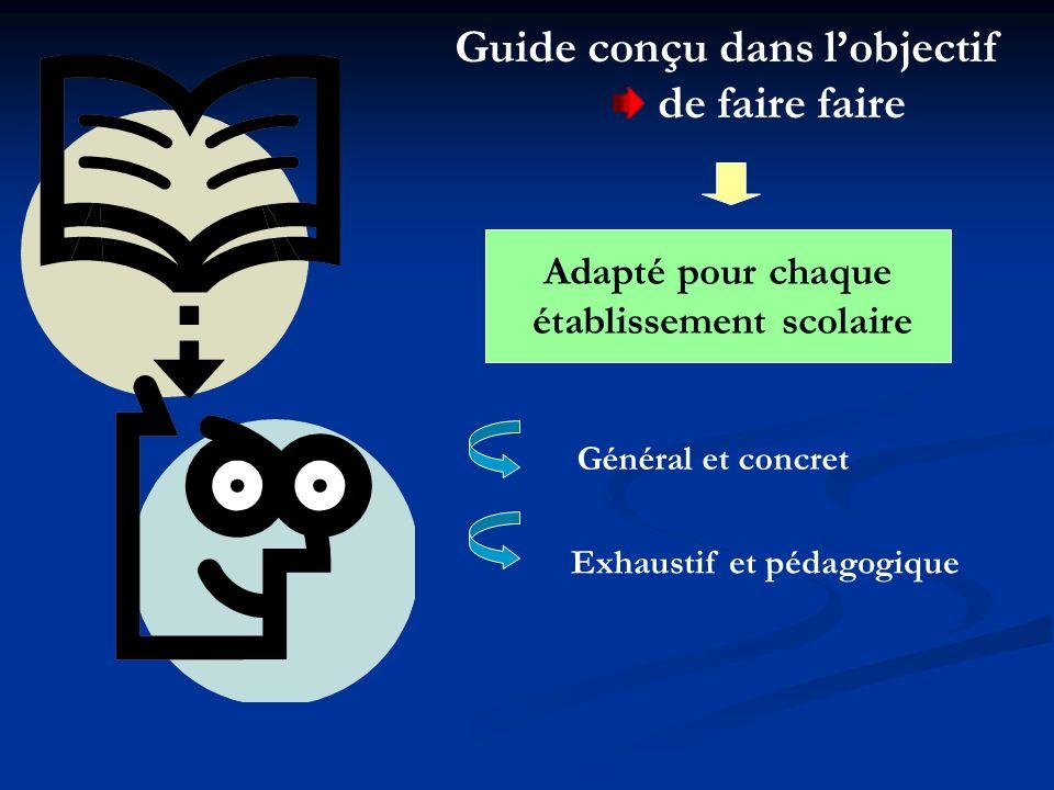 Guide conçu dans lobjectif de faire faire Adapté pour chaque établissement scolaire Général et concret Exhaustif et pédagogique