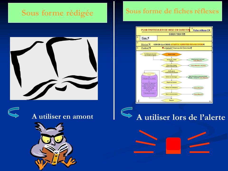 Sous forme rédigée Sous forme de fiches réflexes A utiliser lors de lalerte A utiliser en amont