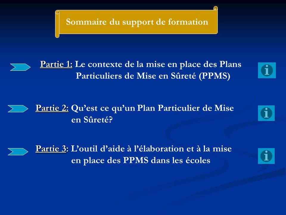 Sommaire du support de formation Partie 1: Partie 1: Le contexte de la mise en place des Plans Particuliers de Mise en Sûreté (PPMS) Partie 2: Partie