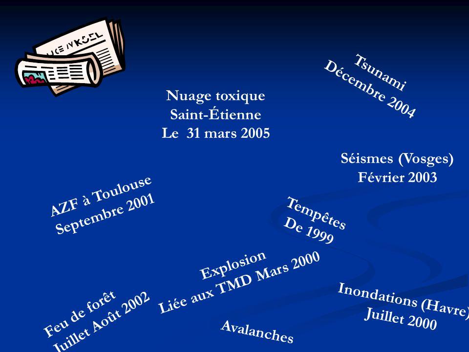 AZF à Toulouse Septembre 2001 Feu de forêt Juillet Août 2002 Nuage toxique Saint-Étienne Le 31 mars 2005 Inondations (Havre) Juillet 2000 Tsunami Déce