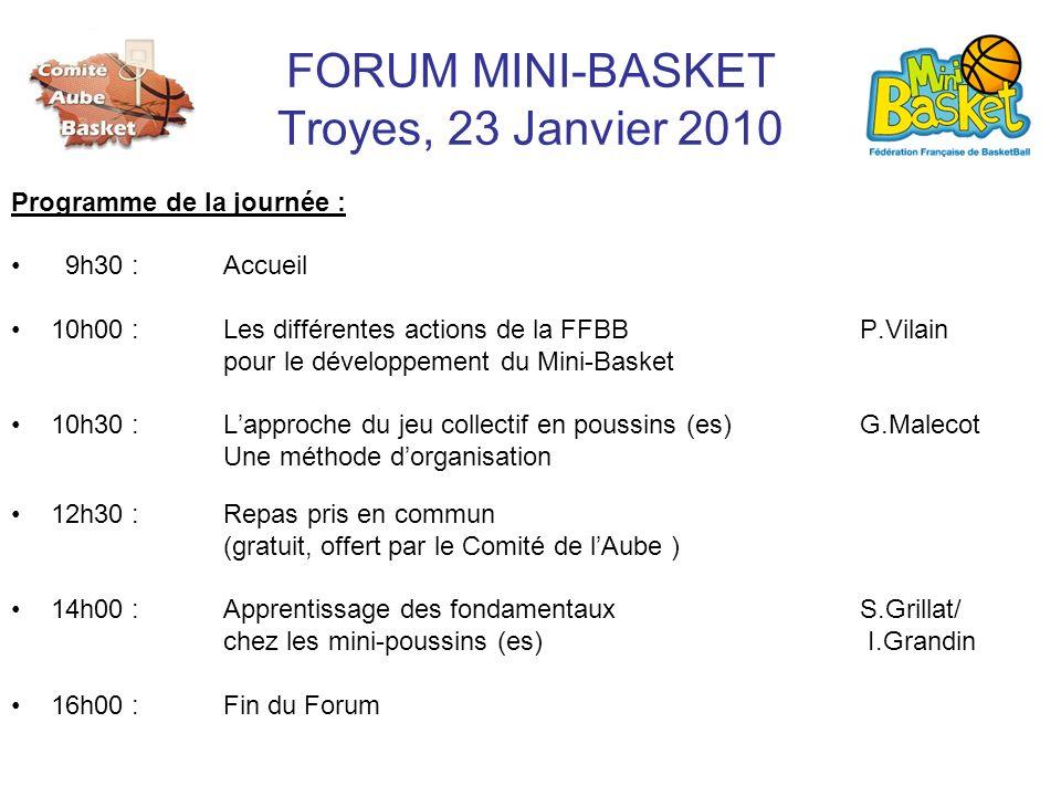 FORUM MINI-BASKET Troyes, 23 Janvier 2010 Programme de la journée : 9h30 : Accueil 10h00 :Les différentes actions de la FFBB P.Vilain pour le développ