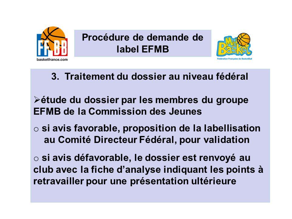 Les EFMB en chiffres 3. Traitement du dossier au niveau fédéral étude du dossier par les membres du groupe EFMB de la Commission des Jeunes o si avis