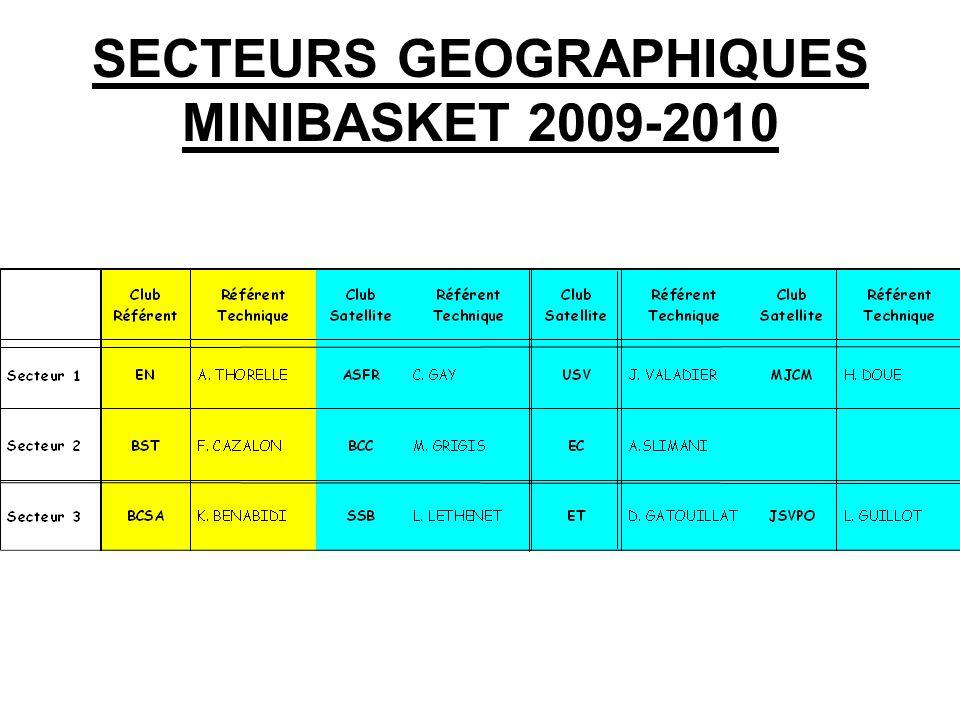 SECTEURS GEOGRAPHIQUES MINIBASKET 2009-2010