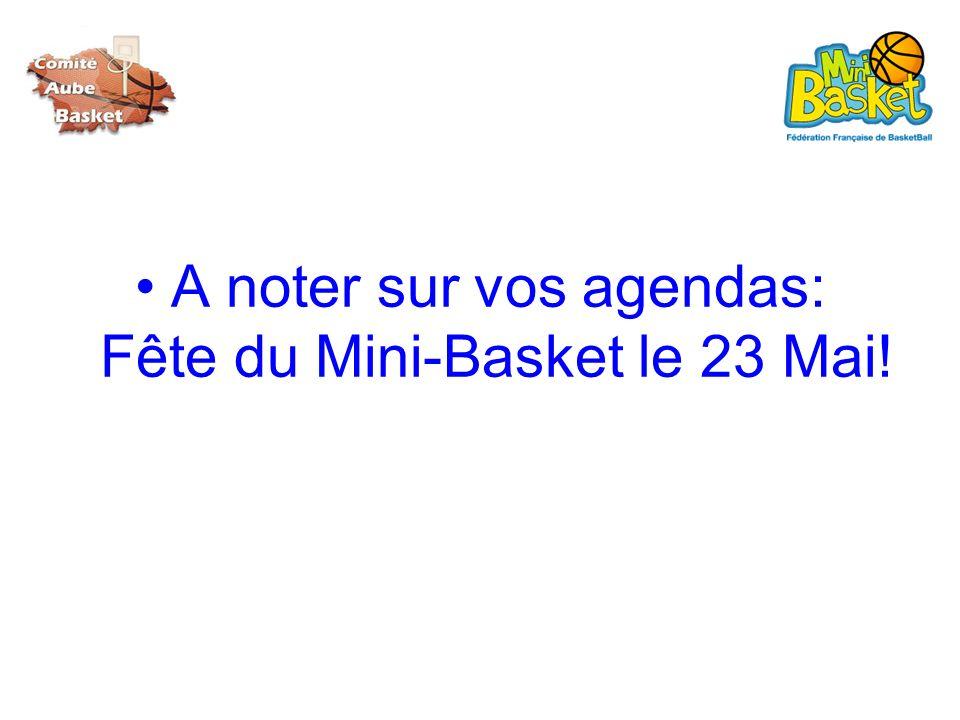A noter sur vos agendas: Fête du Mini-Basket le 23 Mai!