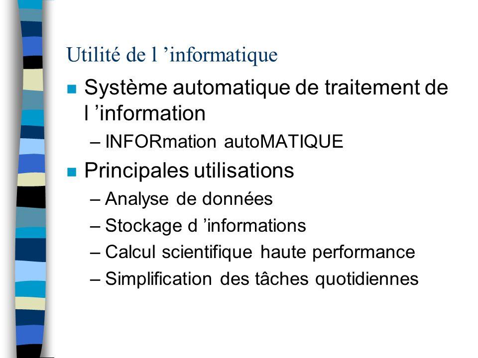 Utilité de l informatique n Système automatique de traitement de l information –INFORmation autoMATIQUE n Principales utilisations –Analyse de données