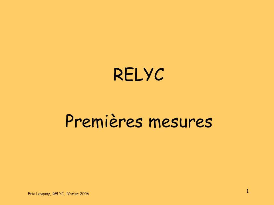 Eric Lesquoy, RELYC, février 2006 1 RELYC Premières mesures