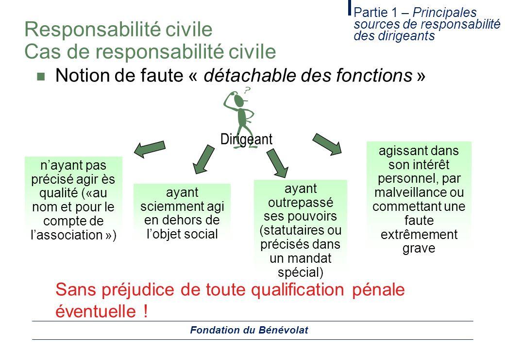 Responsabilité civile Cas de responsabilité civile Notion de faute « détachable des fonctions » Partie 1 – Principales sources de responsabilité des d