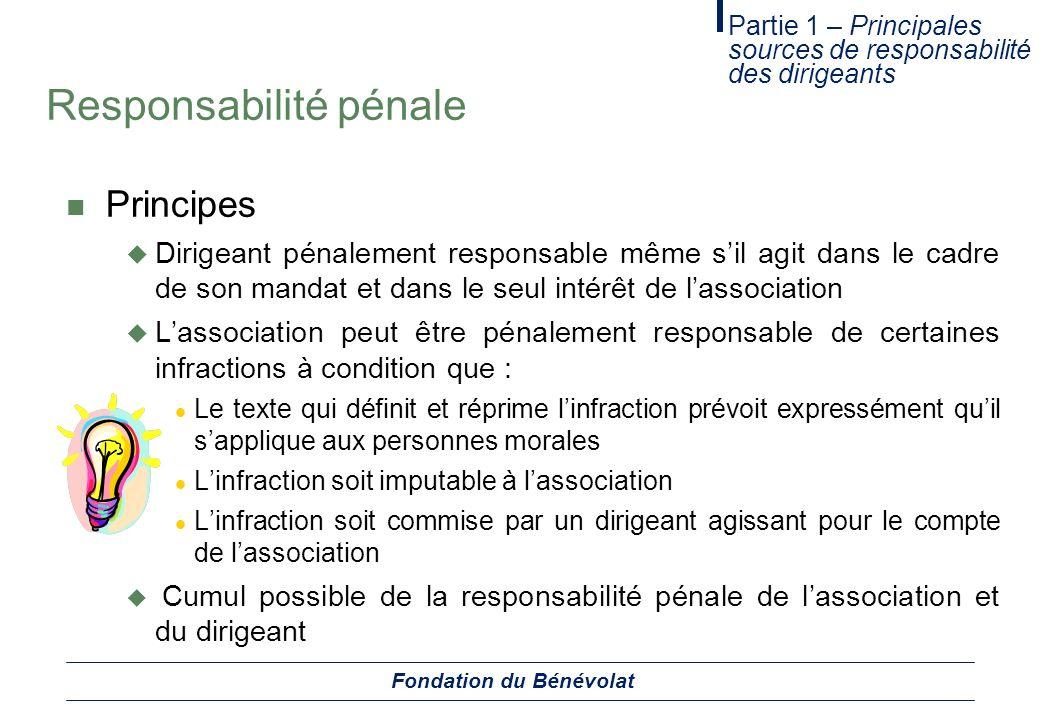 Responsabilité pénale Principes Dirigeant pénalement responsable même sil agit dans le cadre de son mandat et dans le seul intérêt de lassociation Las