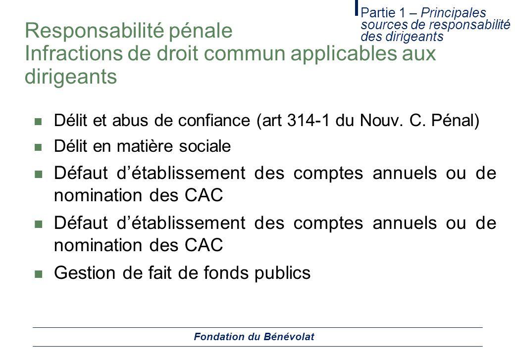 Responsabilité pénale Infractions de droit commun applicables aux dirigeants Délit et abus de confiance (art 314-1 du Nouv. C. Pénal) Délit en matière
