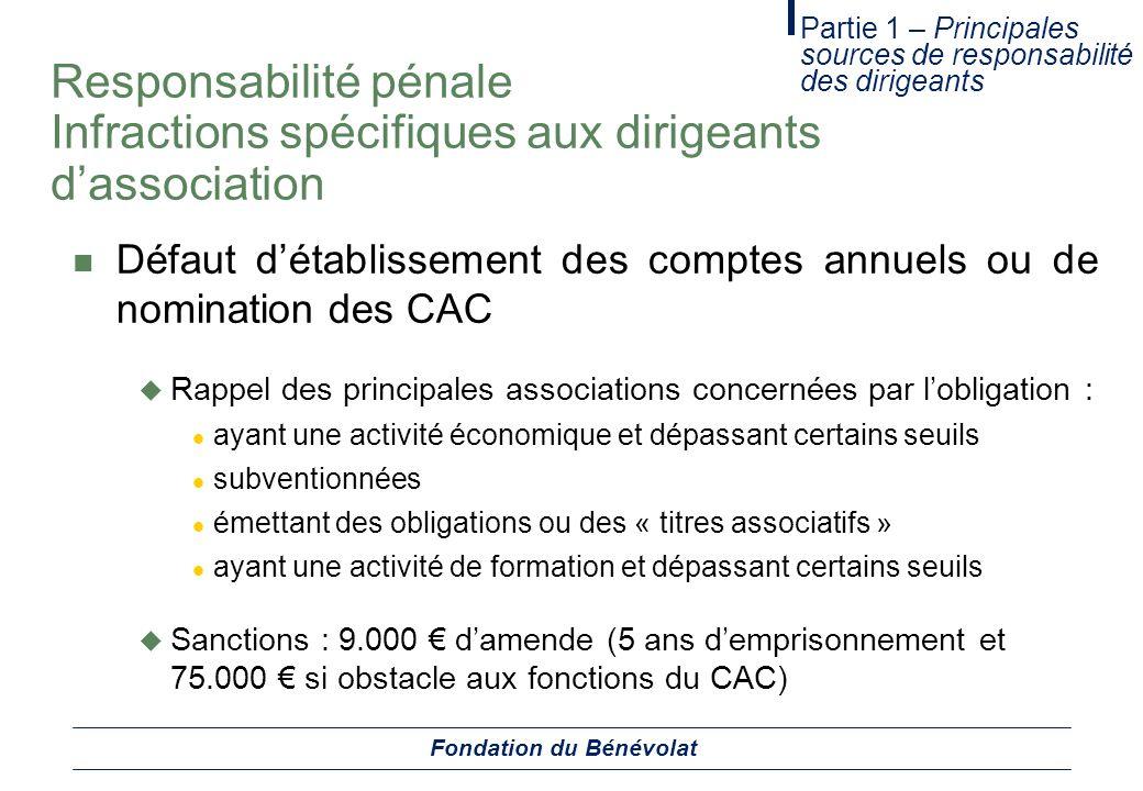 Responsabilité pénale Infractions spécifiques aux dirigeants dassociation Défaut détablissement des comptes annuels ou de nomination des CAC Rappel de