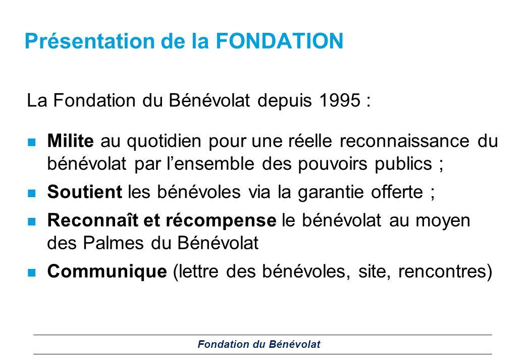 Les Palmes du Bénévolat Créées à linitiative de la Fondation, reconnues depuis lors par les pouvoirs publics, les Palmes du Bénévolat récompensent chaque années des bénévoles méritants.