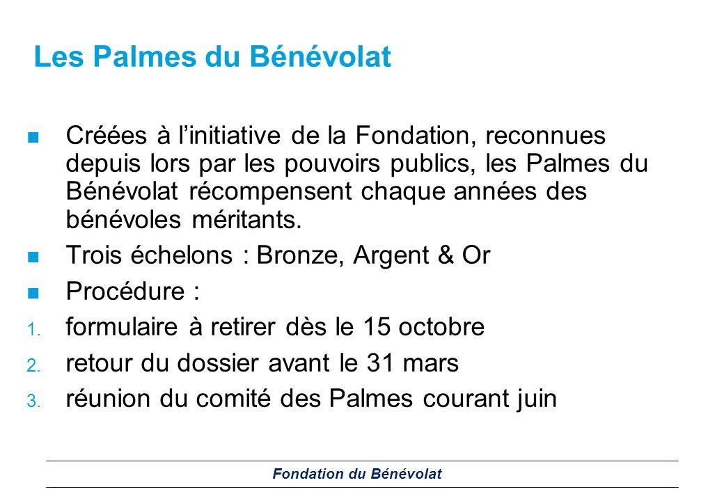 Les Palmes du Bénévolat Créées à linitiative de la Fondation, reconnues depuis lors par les pouvoirs publics, les Palmes du Bénévolat récompensent cha