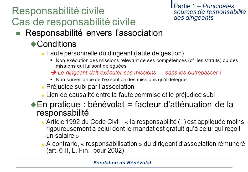 Responsabilité civile Cas de responsabilité civile Responsabilité envers lassociation Conditions Faute personnelle du dirigeant (faute de gestion) : N