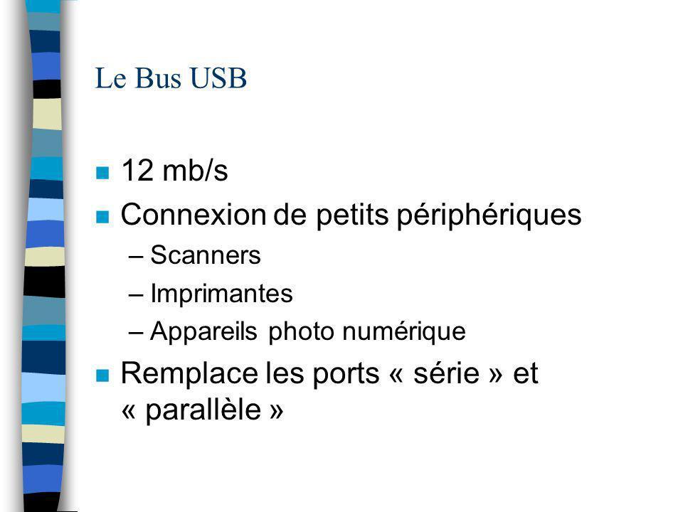 Le Bus USB n 12 mb/s n Connexion de petits périphériques –Scanners –Imprimantes –Appareils photo numérique n Remplace les ports « série » et « parallèle »
