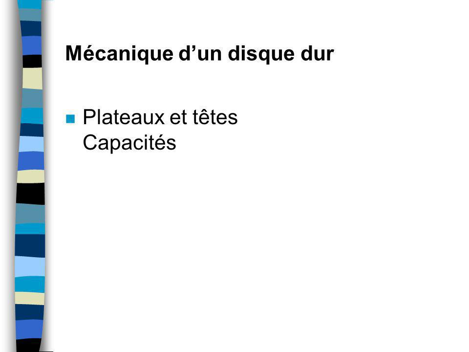 Mécanique dun disque dur n Plateaux et têtes Capacités