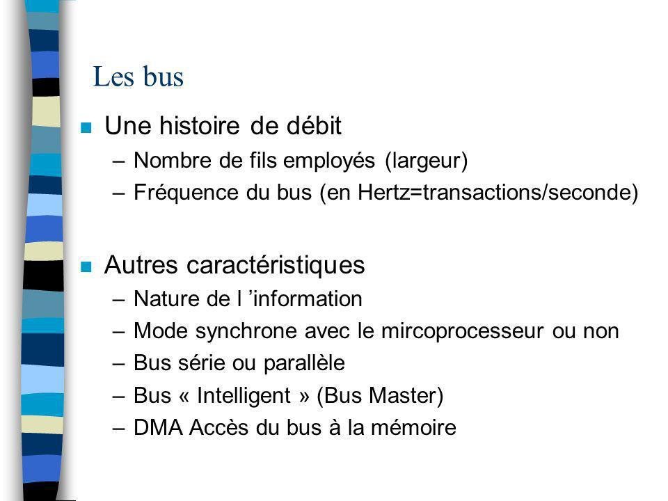 Les bus n Une histoire de débit –Nombre de fils employés (largeur) –Fréquence du bus (en Hertz=transactions/seconde) n Autres caractéristiques –Nature de l information –Mode synchrone avec le mircoprocesseur ou non –Bus série ou parallèle –Bus « Intelligent » (Bus Master) –DMA Accès du bus à la mémoire