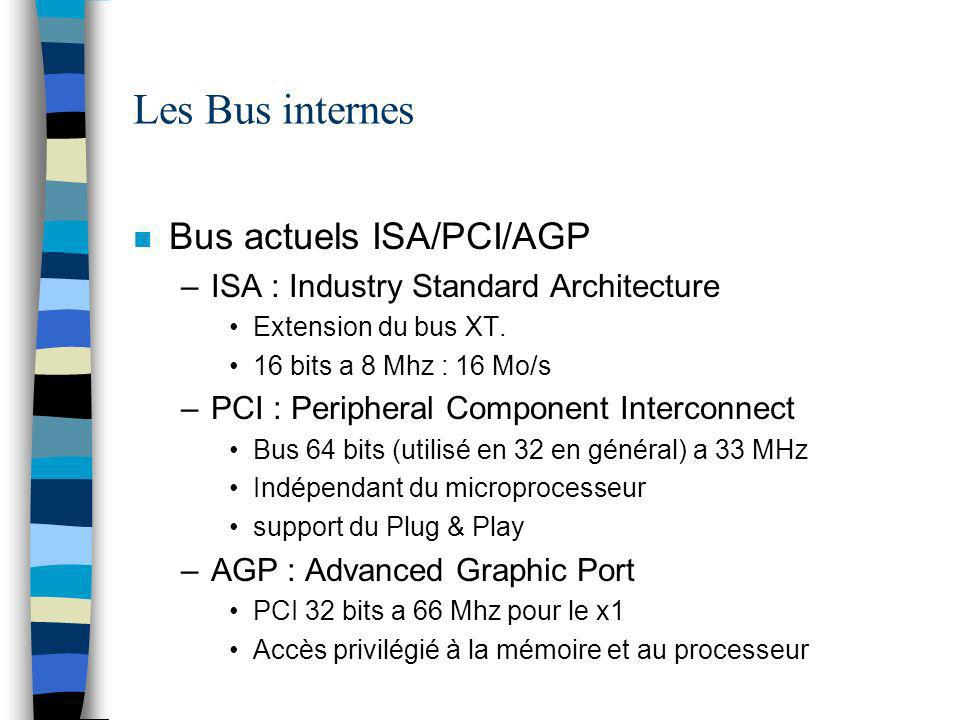 Les Bus internes n Bus actuels ISA/PCI/AGP –ISA : Industry Standard Architecture Extension du bus XT.