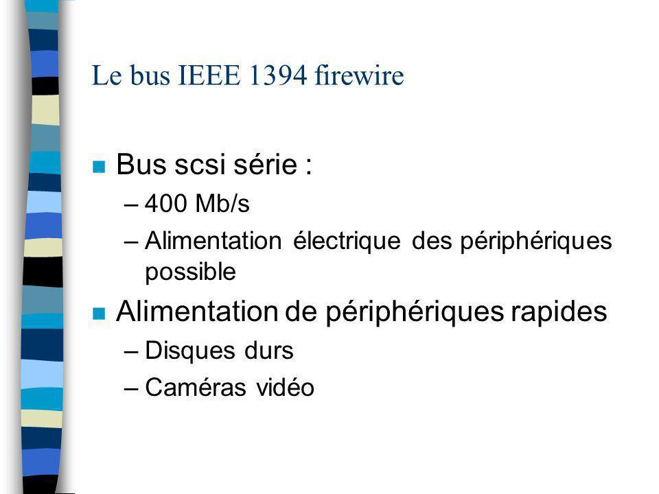Le bus IEEE 1394 firewire n Bus scsi série : –400 Mb/s –Alimentation électrique des périphériques possible n Alimentation de périphériques rapides –Disques durs –Caméras vidéo