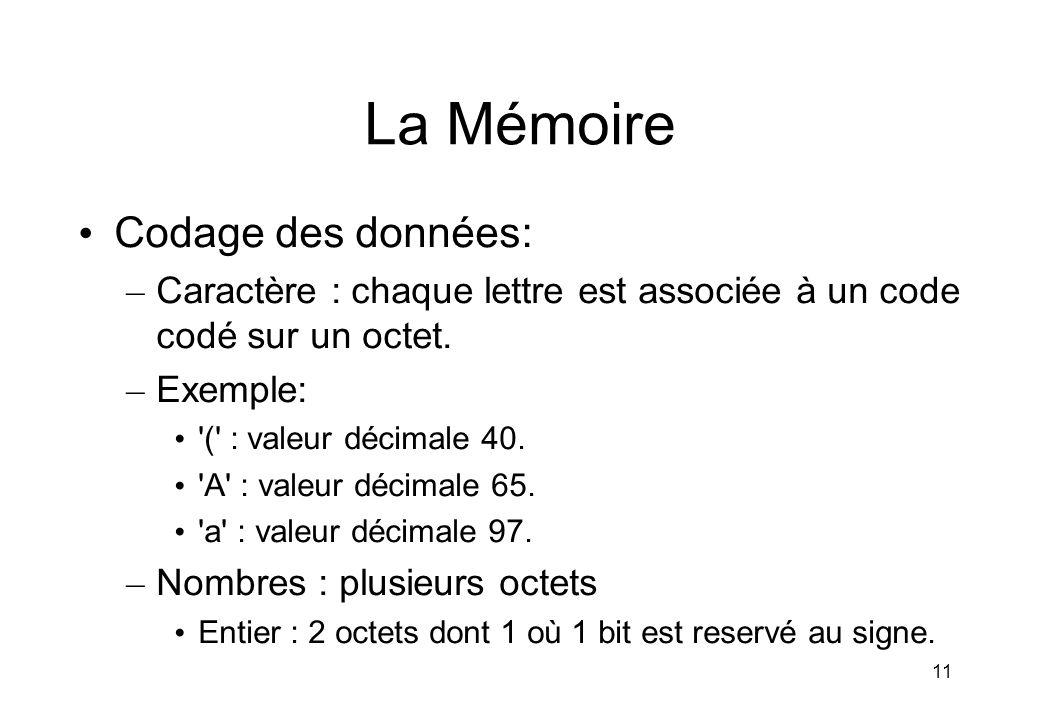 11 La Mémoire Codage des données: – Caractère : chaque lettre est associée à un code codé sur un octet. – Exemple: '(' : valeur décimale 40. 'A' : val