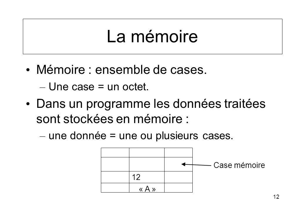 12 La mémoire Mémoire : ensemble de cases. – Une case = un octet. Dans un programme les données traitées sont stockées en mémoire : – une donnée = une