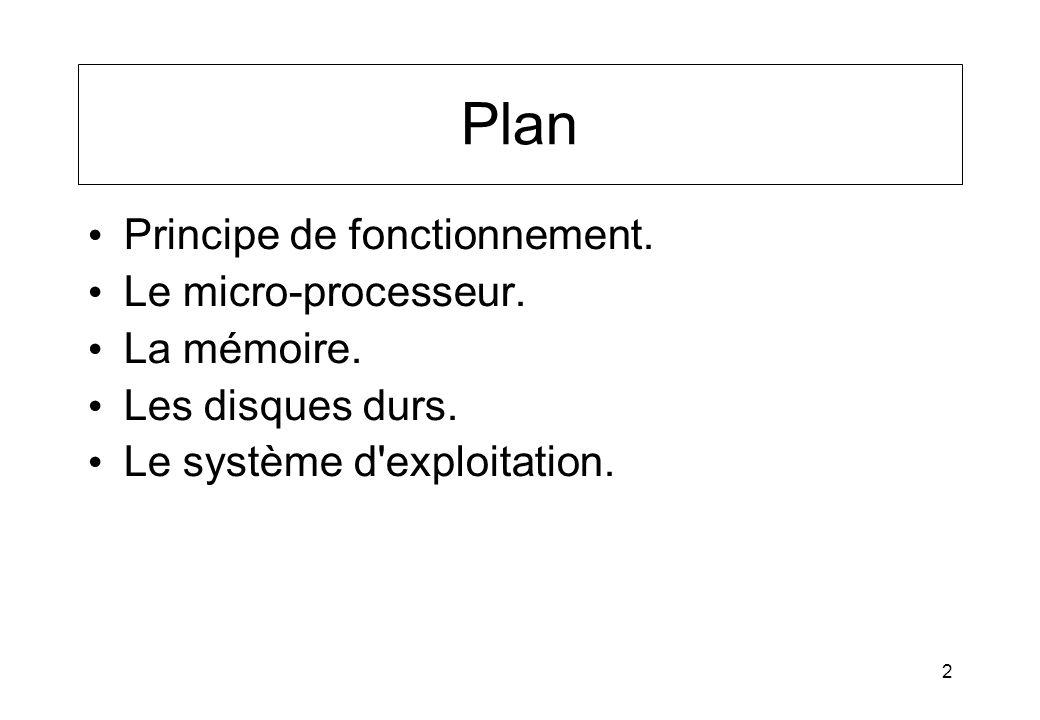 2 Plan Principe de fonctionnement. Le micro-processeur. La mémoire. Les disques durs. Le système d'exploitation.