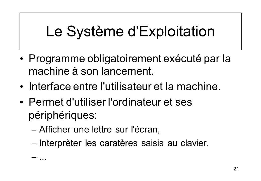 21 Le Système d'Exploitation Programme obligatoirement exécuté par la machine à son lancement. Interface entre l'utilisateur et la machine. Permet d'u
