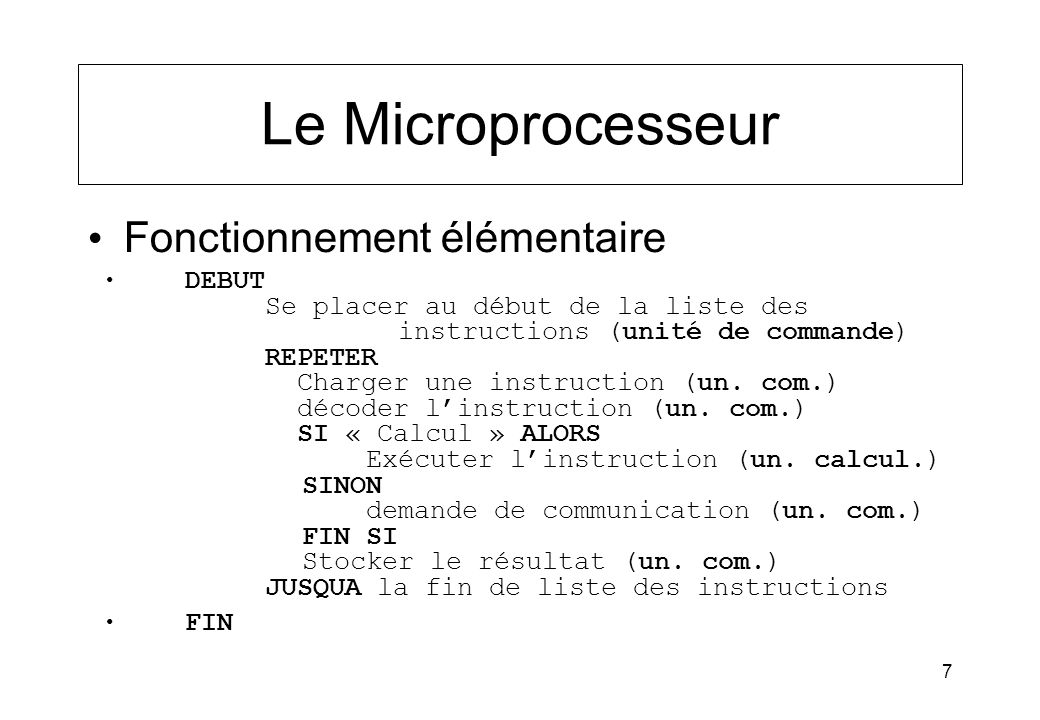 7 Le Microprocesseur Fonctionnement élémentaire DEBUT Se placer au début de la liste des instructions (unité de commande) REPETER Charger une instruct