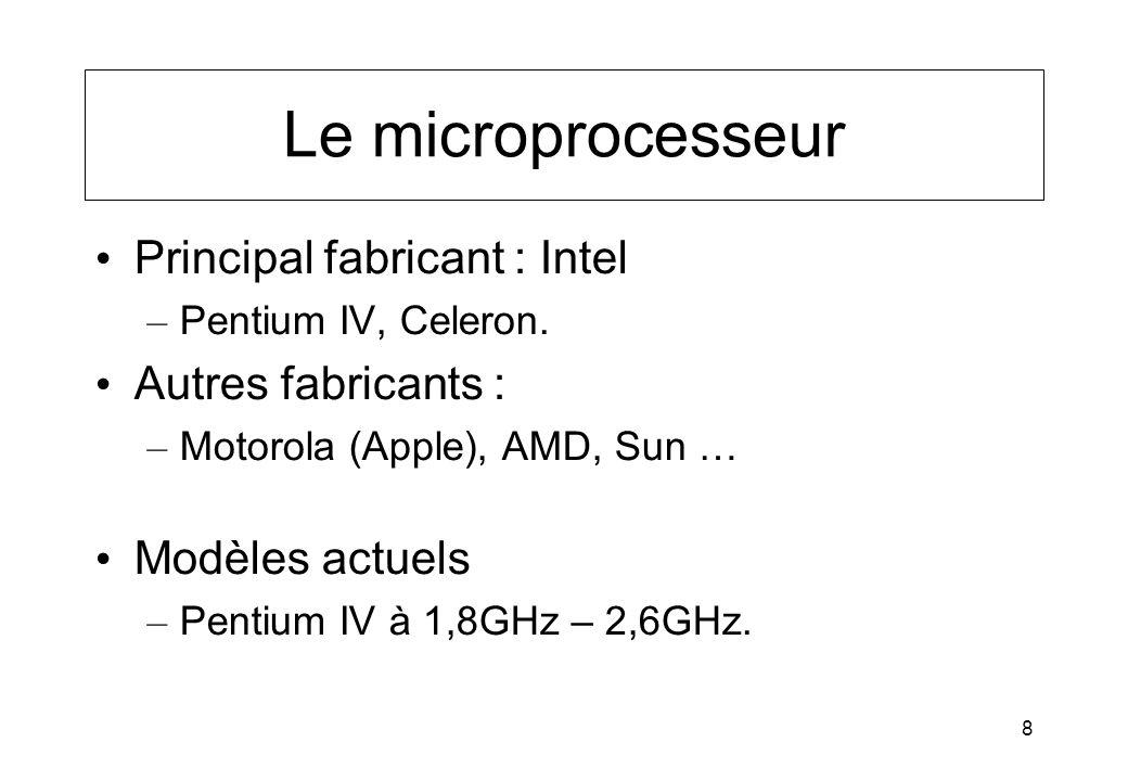 8 Le microprocesseur Principal fabricant : Intel – Pentium IV, Celeron. Autres fabricants : – Motorola (Apple), AMD, Sun … Modèles actuels – Pentium I