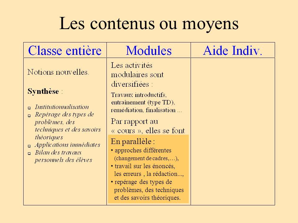 Les contenus ou moyens En parallèle : approches différentes (changement de cadres,…), travail sur les énoncés, les erreurs, la rédaction..., repérage