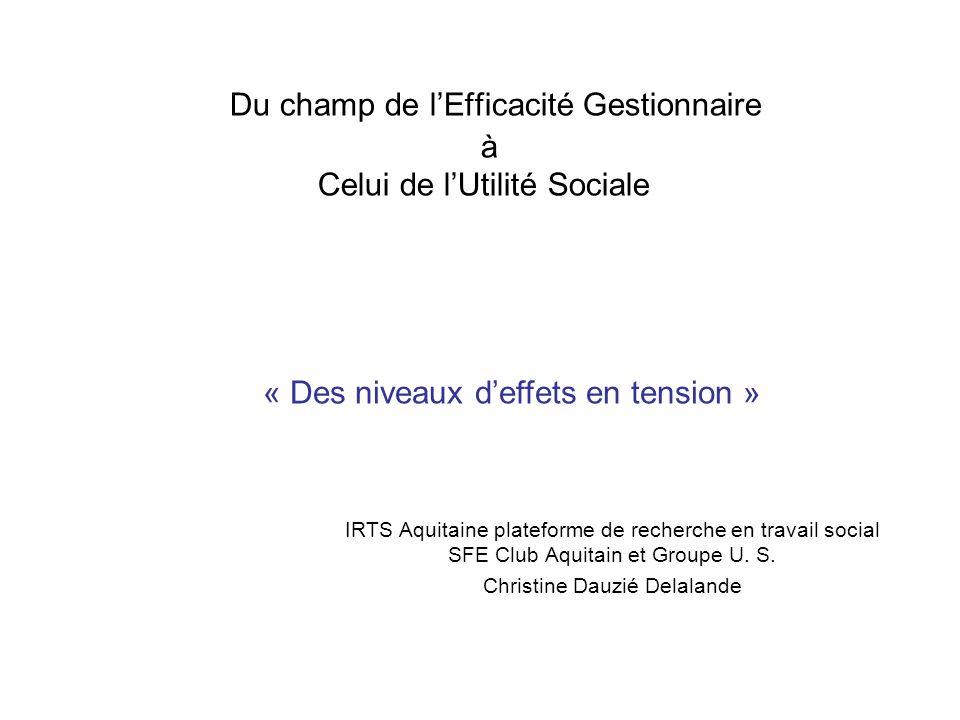 Du champ de lEfficacité Gestionnaire à Celui de lUtilité Sociale IRTS Aquitaine plateforme de recherche en travail social SFE Club Aquitain et Groupe U.