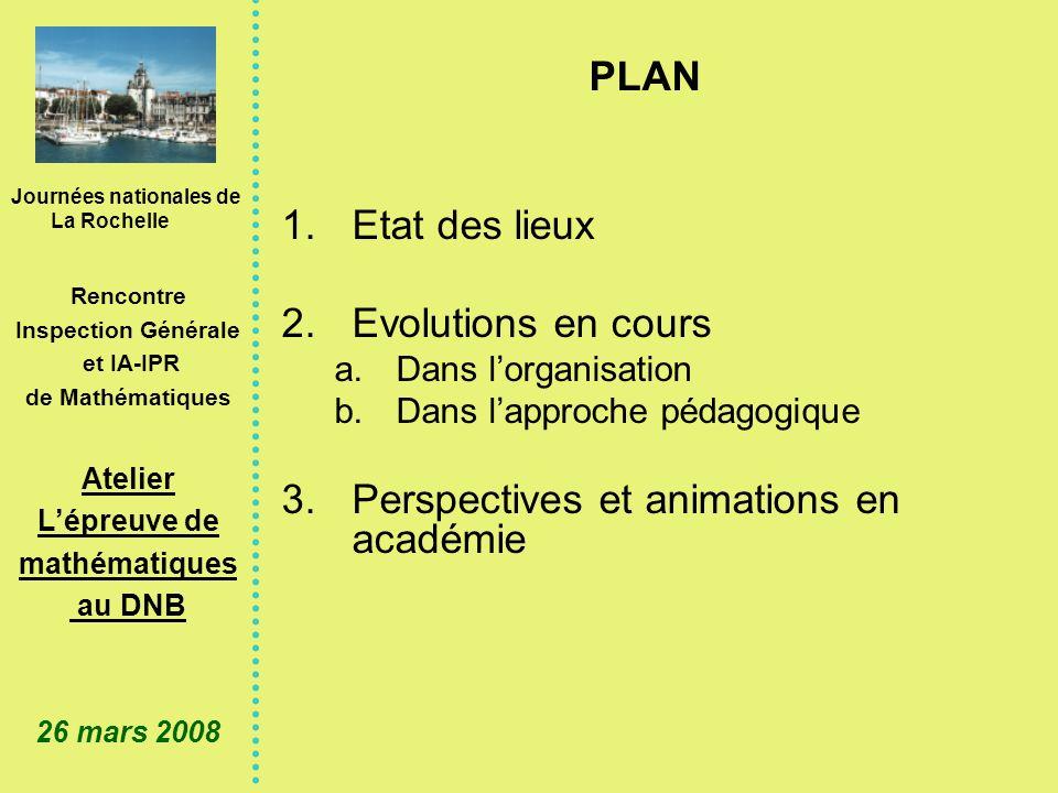 Journées nationales de La Rochelle Rencontre Inspection Générale et IA-IPR de Mathématiques Atelier Lépreuve de mathématiques au DNB 26 mars 2008 1.