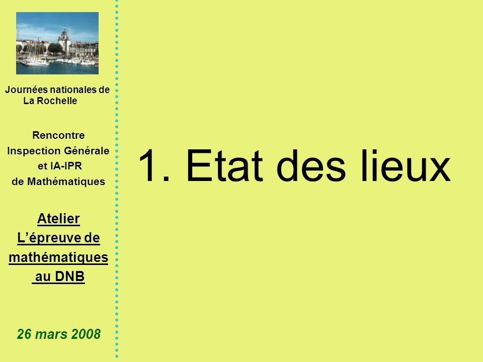 Journées nationales de La Rochelle Rencontre Inspection Générale et IA-IPR de Mathématiques Atelier Lépreuve de mathématiques au DNB 26 mars 2008 Quelques points de repère Note de service n°99-123 du 6-9-1999 (BO n°31 du 9-9-1999) relative aux modalités d attribution du DNB Un examen qui sadresse à tous les collégiens.