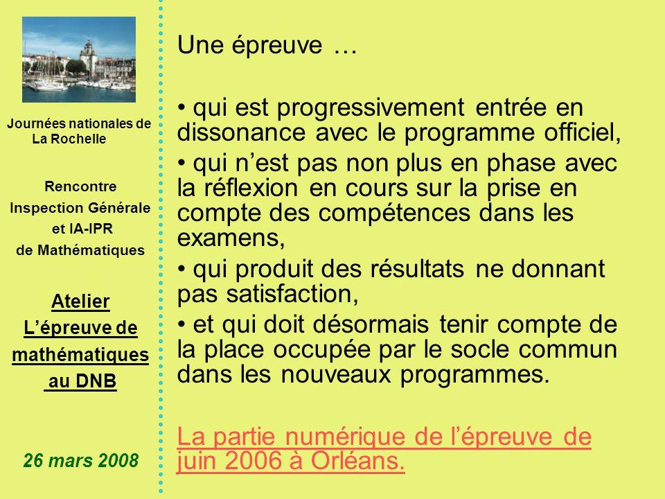 Journées nationales de La Rochelle Rencontre Inspection Générale et IA-IPR de Mathématiques Atelier Lépreuve de mathématiques au DNB 26 mars 2008 2.