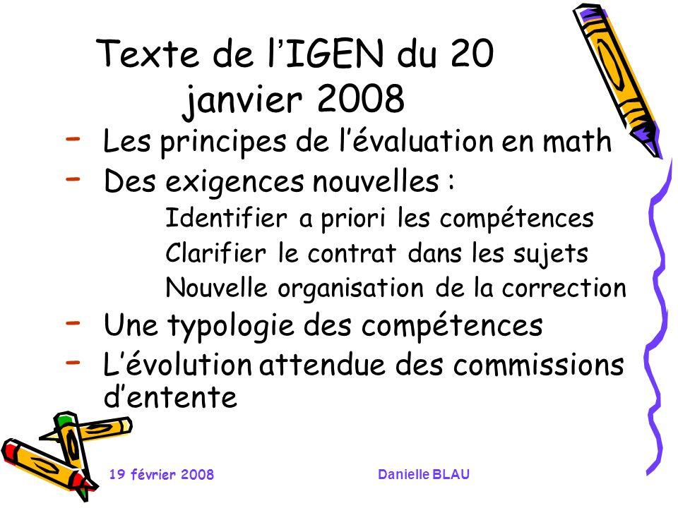 19 février 2008Danielle BLAU Texte de l IGEN du 20 janvier 2008 - Les principes de lévaluation en math - Des exigences nouvelles : Identifier a priori