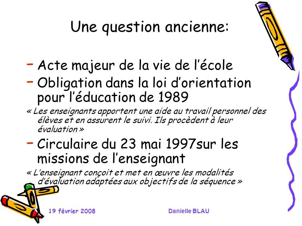 19 février 2008Danielle BLAU Une question ancienne: - Acte majeur de la vie de lécole - Obligation dans la loi dorientation pour léducation de 1989 «