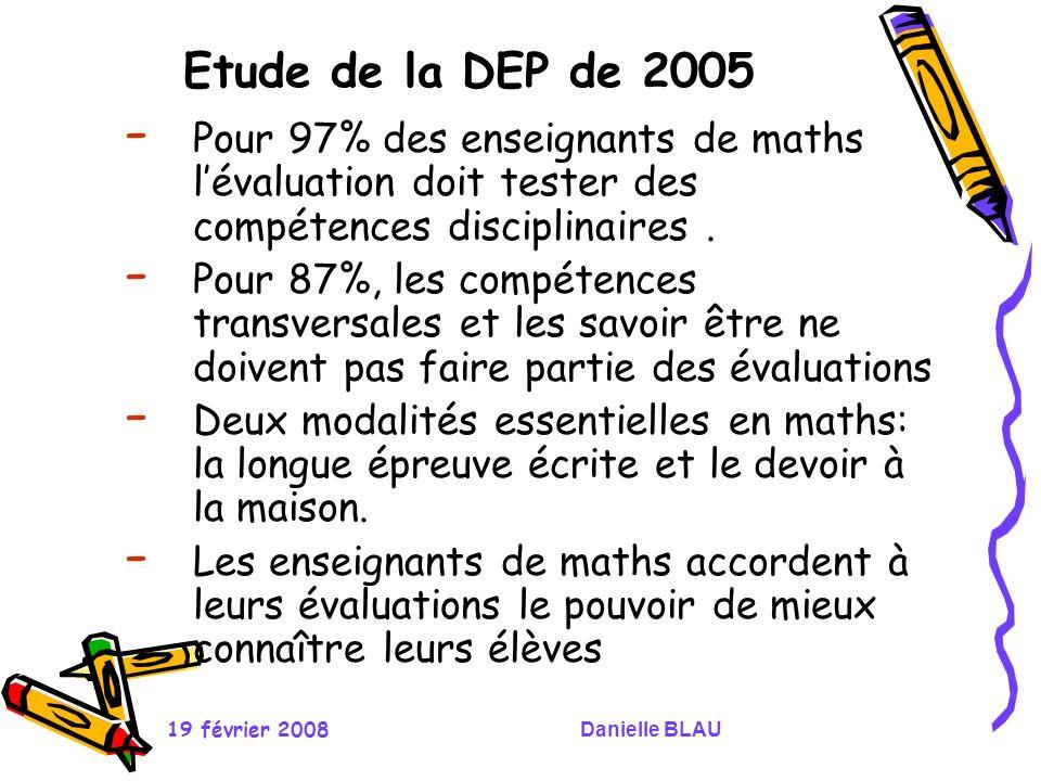 19 février 2008Danielle BLAU Etude de la DEP de 2005 - Pour 97% des enseignants de maths lévaluation doit tester des compétences disciplinaires. - Pou