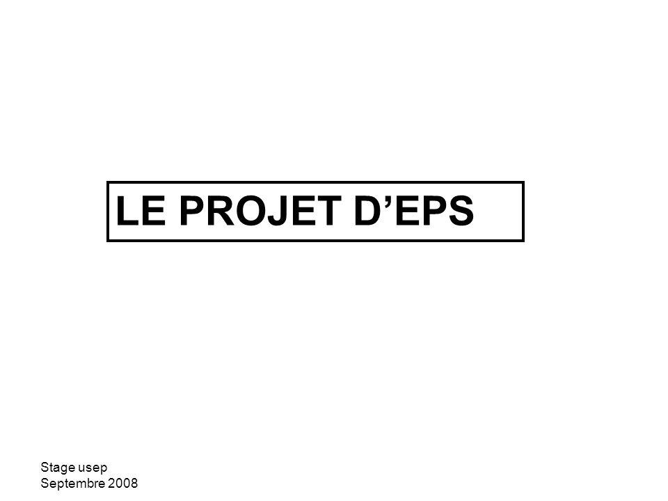 Stage usep Septembre 2008 La notion de projet dEPS Composante prospective: Finalités Objectifs ou but Composante pragmatique : Programmation des actions à réaliser Tension entre les deux composantes