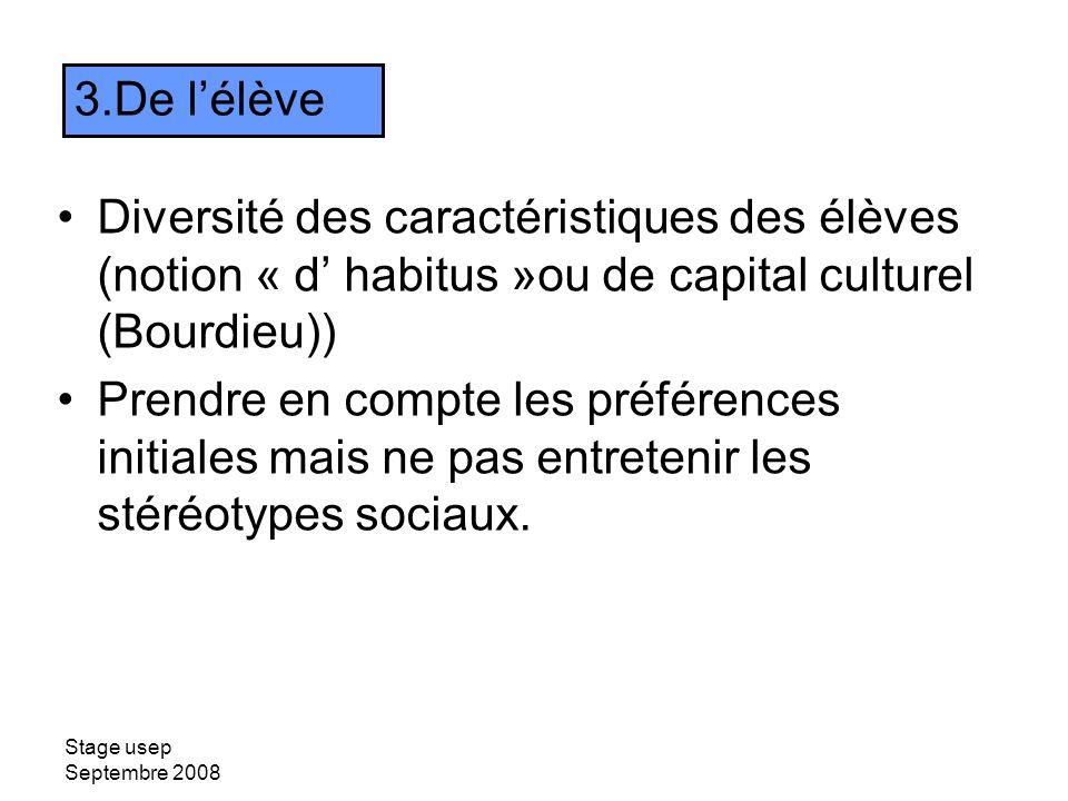 Stage usep Septembre 2008 Diversité des caractéristiques des élèves (notion « d habitus »ou de capital culturel (Bourdieu)) Prendre en compte les préf
