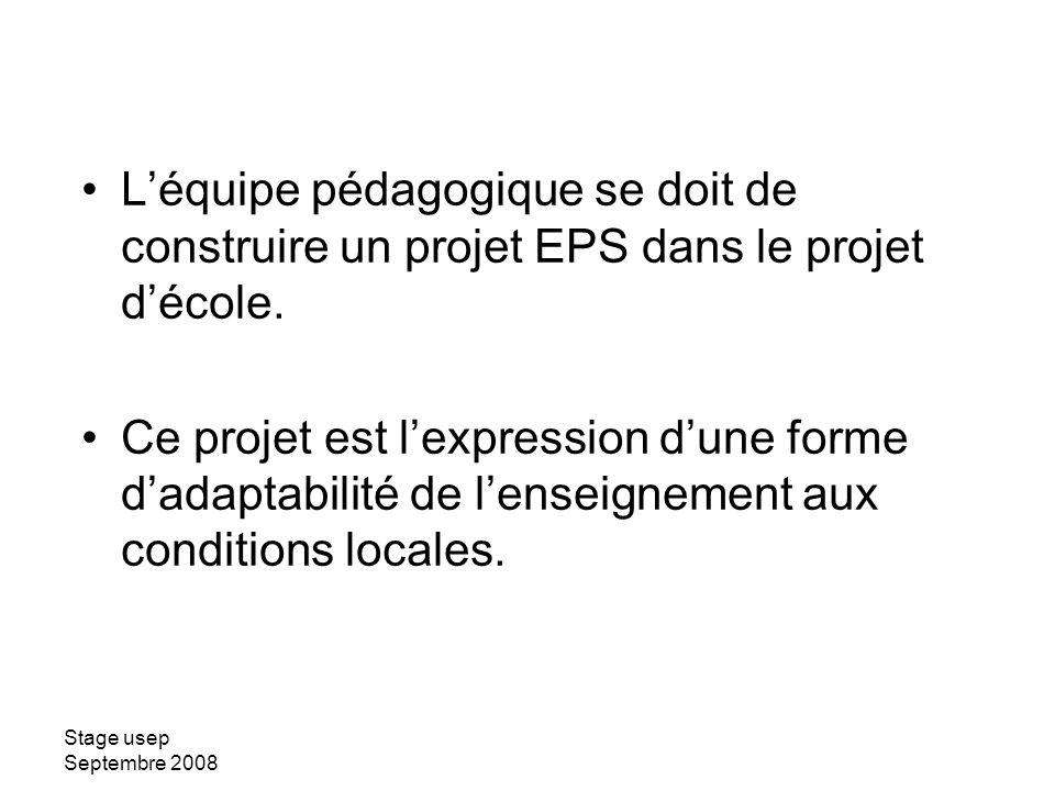 Stage usep Septembre 2008 Léquipe pédagogique se doit de construire un projet EPS dans le projet décole. Ce projet est lexpression dune forme dadaptab