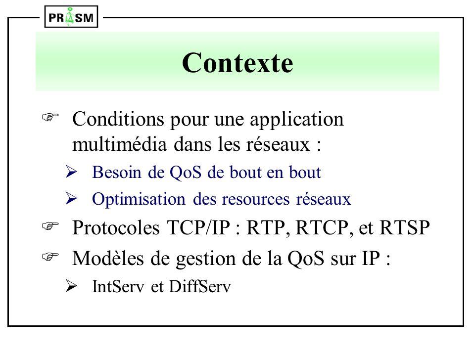 Contexte Conditions pour une application multimédia dans les réseaux : ØBesoin de QoS de bout en bout ØOptimisation des resources réseaux Protocoles T