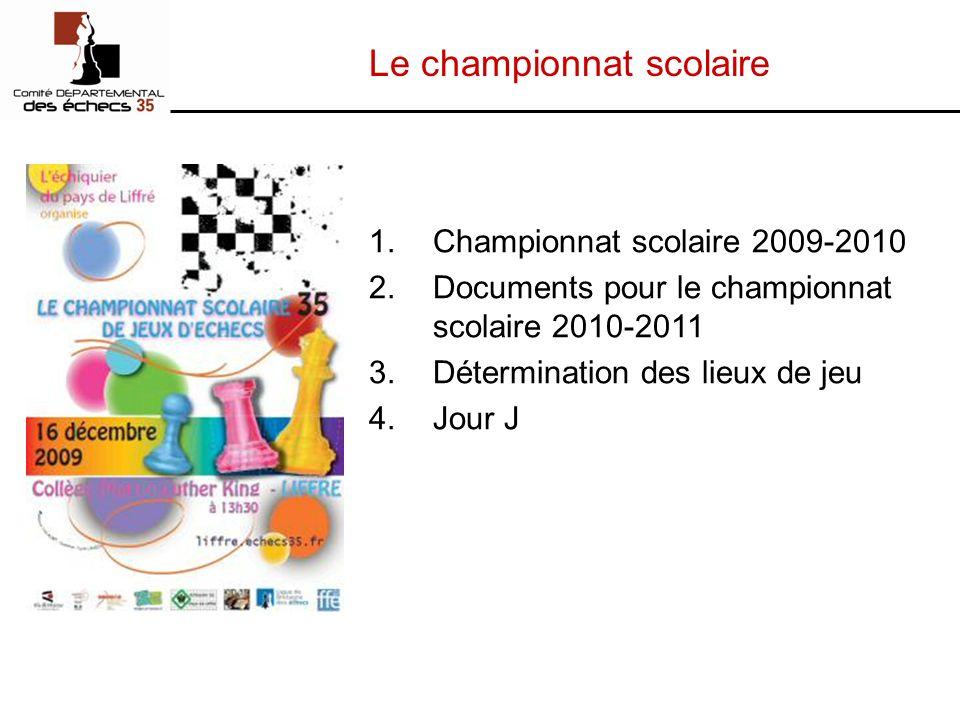 Le championnat scolaire 1.Championnat scolaire 2009-2010 2.Documents pour le championnat scolaire 2010-2011 3.Détermination des lieux de jeu 4.Jour J