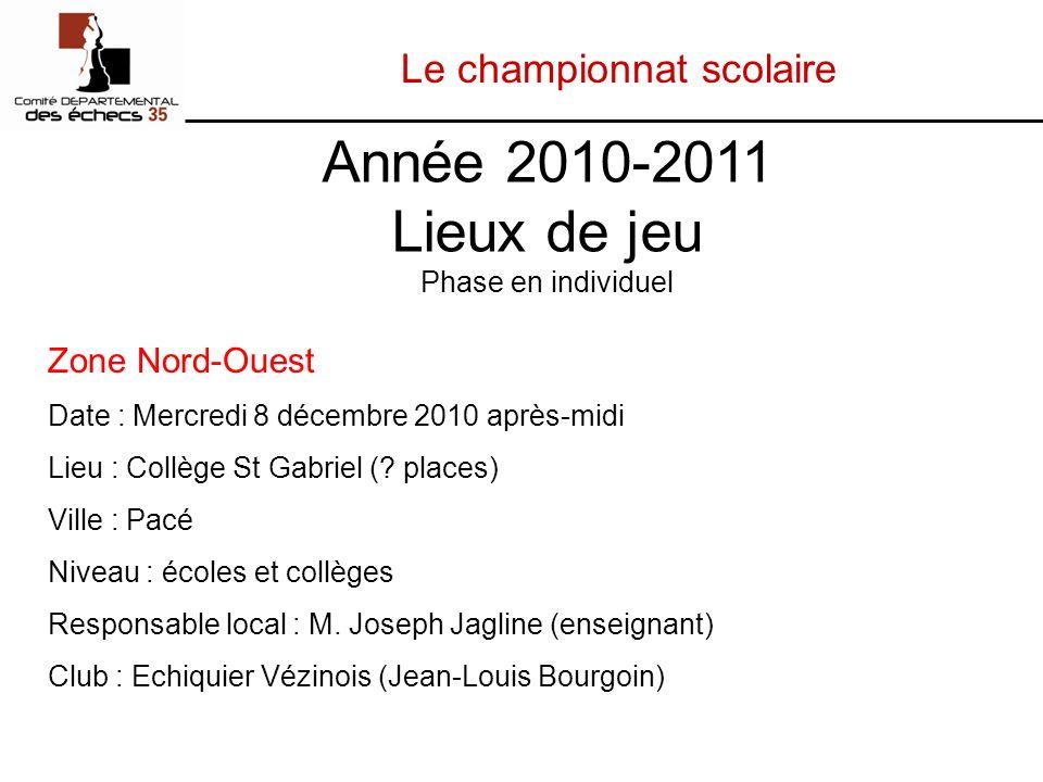 Le championnat scolaire Zone Nord-Ouest Date : Mercredi 8 décembre 2010 après-midi Lieu : Collège St Gabriel (.
