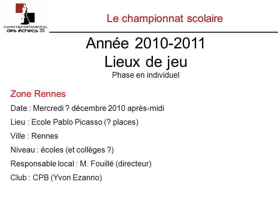 Le championnat scolaire Zone Rennes Date : Mercredi .